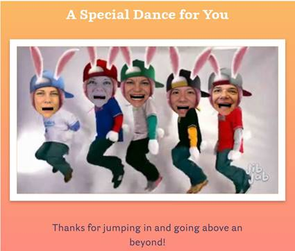 Life at Forum: Employee Celebration Dancing as Bunnies